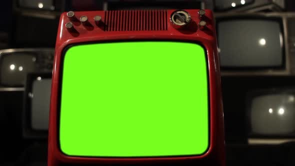 Thumbnail for Old Red TV Turning On Green Screen With Static Noise.