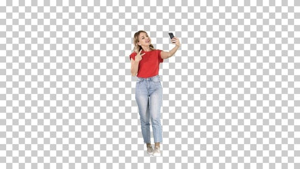 Thumbnail for Wonderful White Female Model Making Selfie While Walking Alpha