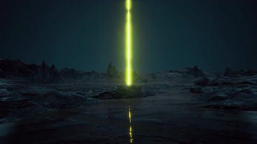 Night Rain Futuristic Architecture Another Planet Scifi Landscape Al Ula Saudi UFO
