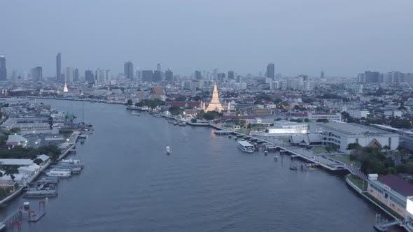 Aerial View of Wat Arun Temple in Bangkok Thailand During Lockdown Covid Quarantine