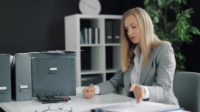 Depressed Business Woman at Office