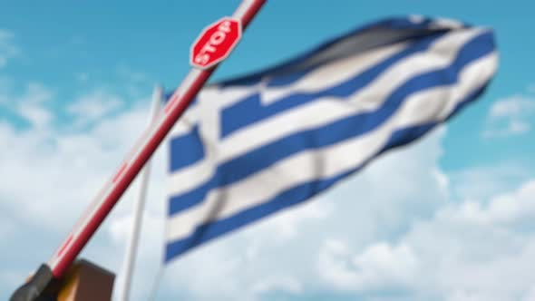 Thumbnail for Closed Boom Gate on the Greek Flag Background