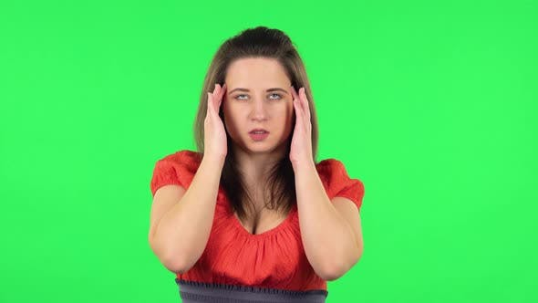 Thumbnail for Portrait of Cute Girl Suffering From Headache From Fatigue . Green Screen
