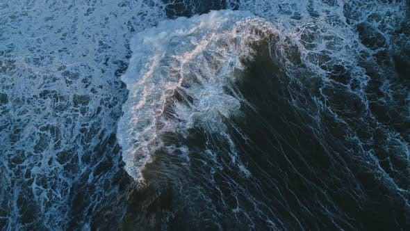 Thumbnail for Top View on Big Waves of Atlantic Ocean at Sunset