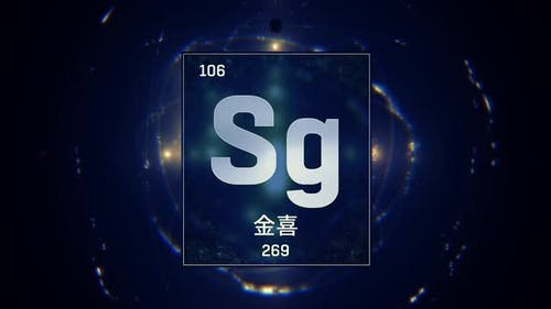 Seaborgium as Element 106 of the Periodic Table on Blue Background in Chinese Language