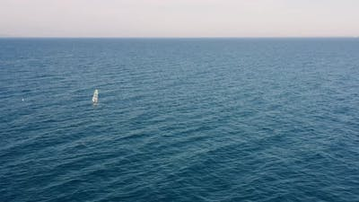 Aerial view of a windsurf in the ocean