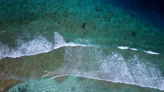Thumbnail for Natural aerial island view of a sandy white paradise beach and turquoise sea background in 4K