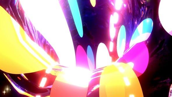 Abstract Rainbow Circles Tunnel
