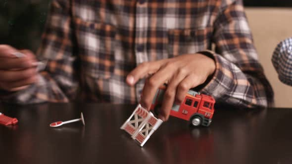 Kid Playing with Fire Truck.