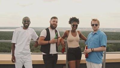 Portrait of Friends on Rooftop Terrace