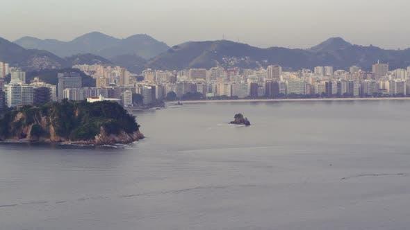 Flying over the atlantic ocean near Rio de Janeiro, Brazil