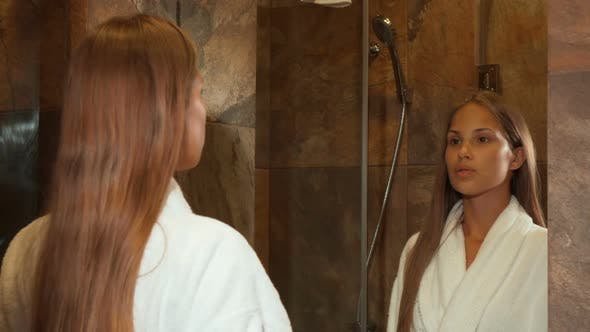 Thumbnail for Stunning Young Woman Smiling To the Camera at Her Hotel Room
