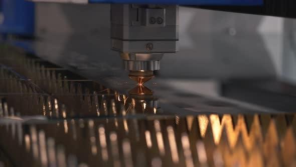 Thumbnail for Modern Technological Cnc Cutting Power Metallic Ironwork Object Hot Gas Closeup