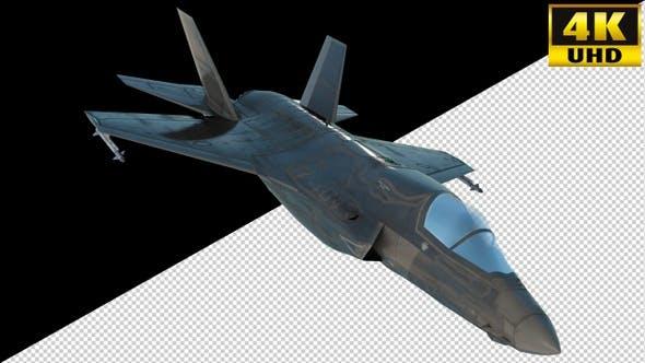 Combat Jet Fighter On Alpha Channel Loops V4