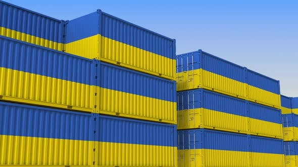 Thumbnail for Container Yard Full of Containers with Flag of Ukraine