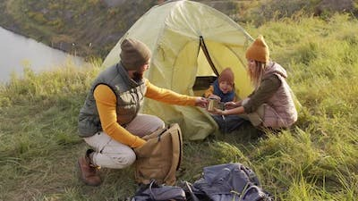 Family of Three Camping