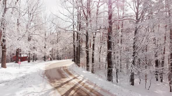 Blue Car Driving And Turns In Winter Forest