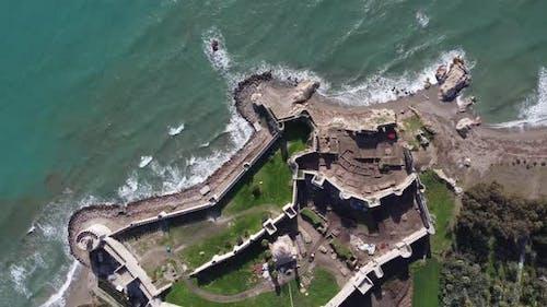 Medieval Mamure Castle Mediterranean Aerial Drone