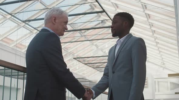 Diverse Male Business Partners Shaking Hands