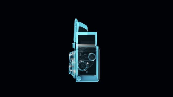Old Filmmaking Camera Blue Hologram In Isolated Black Background 4k