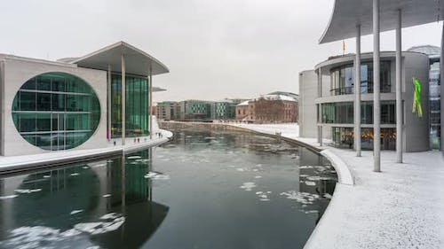 Time lapse view of the Berlin government district in the winter time