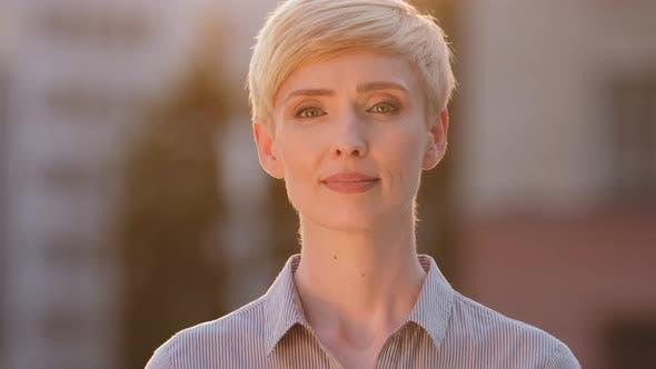 Outdoor Portrait Caucasian Business Woman Adult Businesswoman Boss Teacher Standing Outdoors Sunset