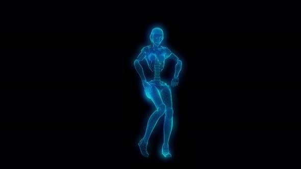 4K Lowpoly Glow Tanzroboter mit Alphakanal