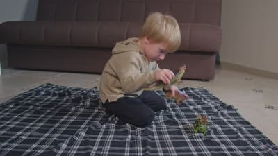 Blond Toddler Child Playing with Dinosaurs at Home