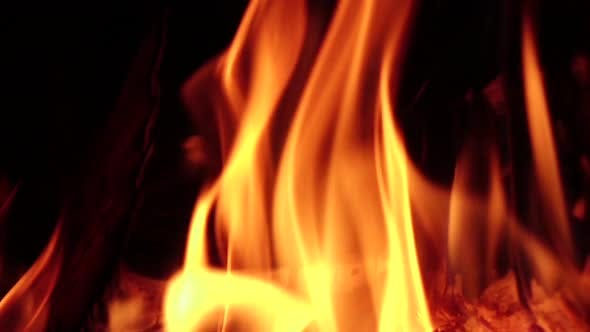 Thumbnail for Fireplace Burning. Warm Cozy Fire in Fireplace, Closeup. Slow Motion