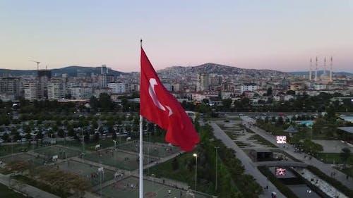 Turkish Flag Drone Shot