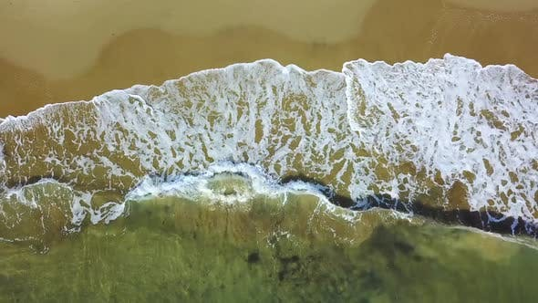 Thumbnail for Storm Waves Wash Over the Sandy Shore. Aerial Survey