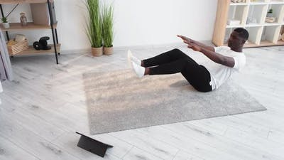Yoga Practice Casual Black Man Home Training