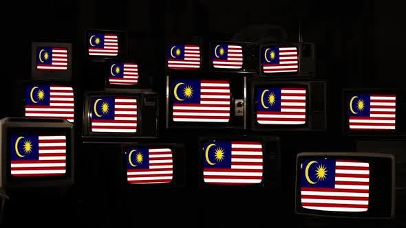 Thumbnail for Flag of Malaysia on Retro TVs.