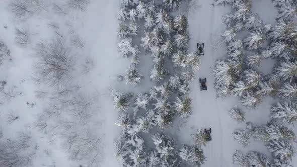 Thumbnail for Snowy Forest Following Atv Vehicles Aerial View