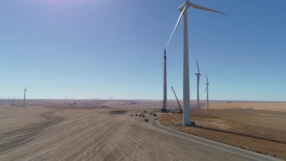Thumbnail for Contractors working on wind turbine