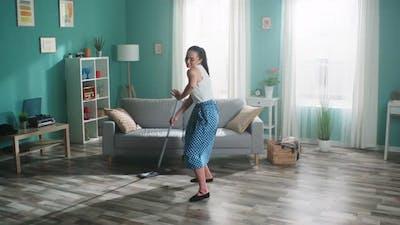 Woman Dancer Has Fun at Home