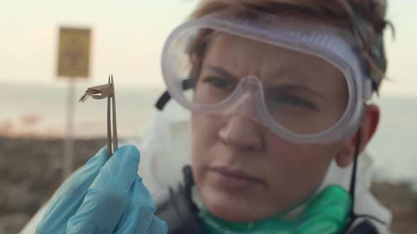 Female Scientist Examining Damaged Plant