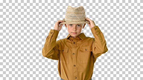 Thumbnail for Boy in a shirt adjusting his straw hat, Alpha Channel