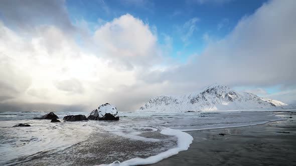 Thumbnail for Wave on a Winter Beach and Clouds