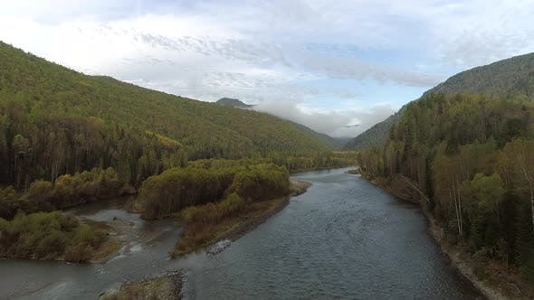 Thumbnail for Flying over Foggy Siberian River