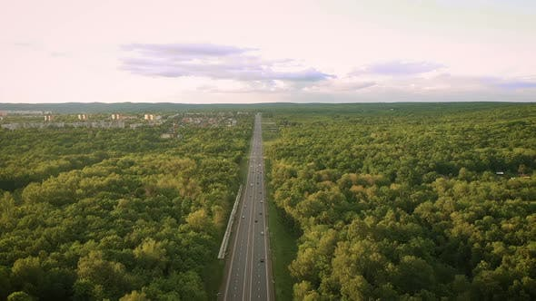 Thumbnail for Bird's-eye View of the Road. View of the Highway From a Quadrocopter. Samara, Russia. Samara, Russia