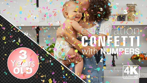 Thumbnail for 3rd Birthday And Anniversary Celebrations Confetti Particles With Number Three