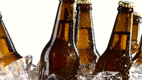 Thumbnail for Drunk Beer in Dark Bottles Stands in the Ice. White Background. Close Up