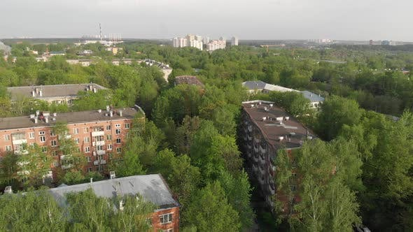 Movement Over Old Brick-built Neighborhood in Moscow, Russia