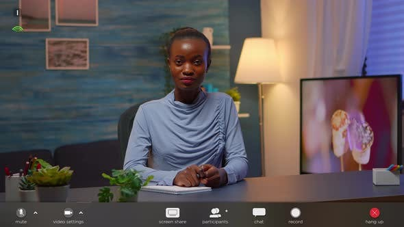 Thumbnail for Black Businesswoman on Video Conference Working Remotely