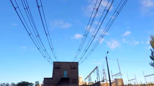 The Clouds Fly Over the Power Substation