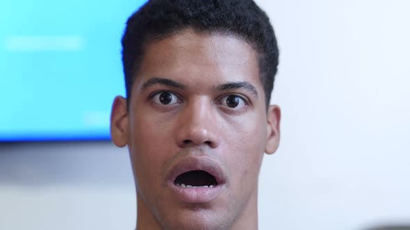 Thumbnail for Amazed, Surprised Young Black Man Close Up
