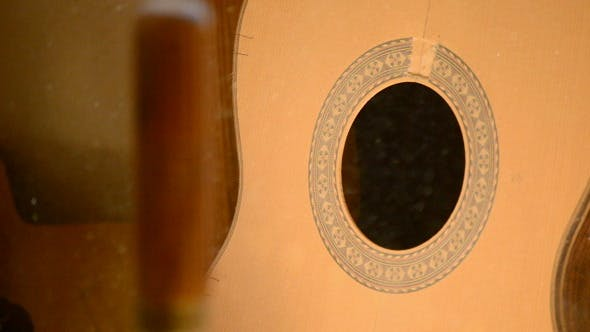 Guitar with Particles Wood Shaving in Air