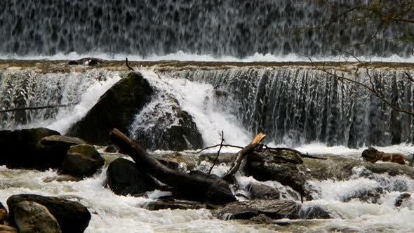 Natural Waterfall And River