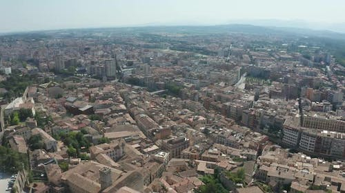 Drone Flight Over Roofs of Buildings in Girona